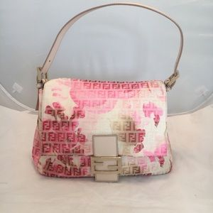 Authentic Fendi Pink Zucchino Canvas Mama